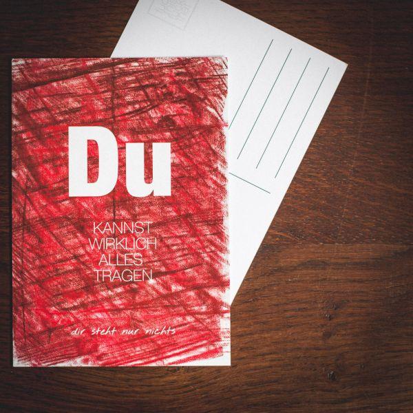 """Postkarte """"DU KANNST WIRKLICH ALLES TRAGEN"""" #wax"""
